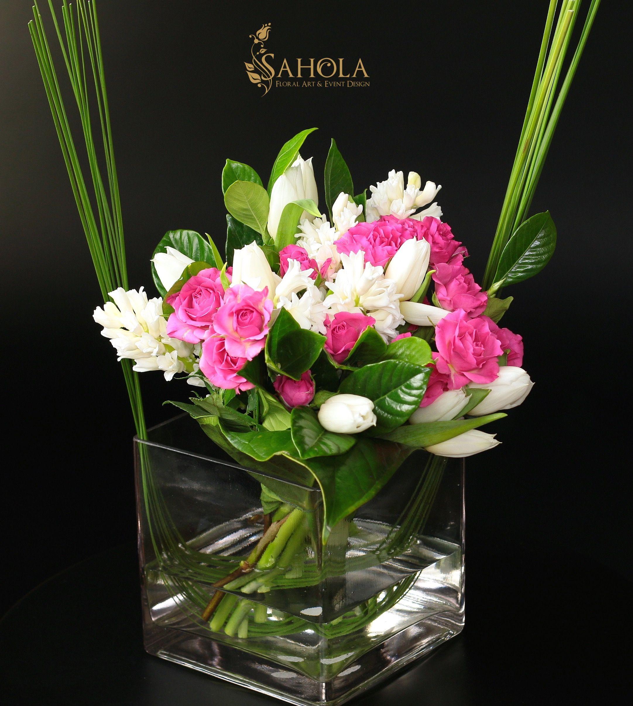 Spring flower arrangement with white tulips pink spray roses spring flower arrangement with white tulips pink spray roses and white hyacinth by saholany izmirmasajfo