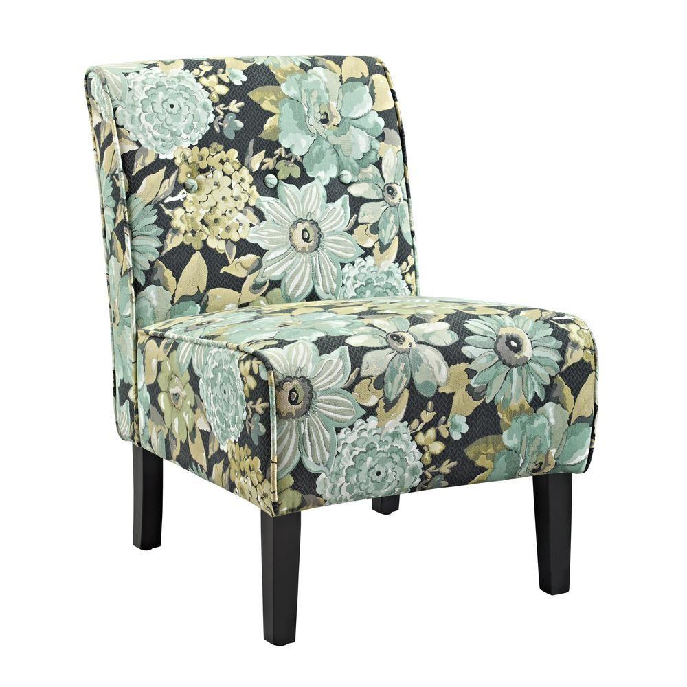 Linon Home Decor Coco Black Geranium Accent Chair Multi