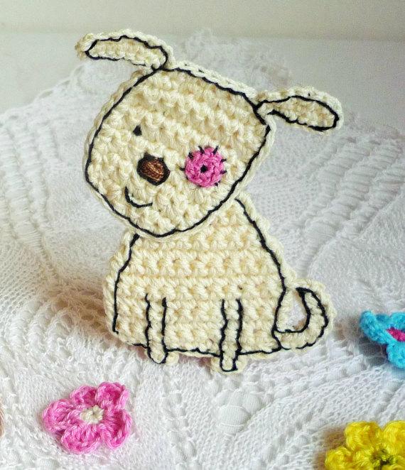 Crochet Dog Applique - Craft Embellishment - Cardmaking Applique ...