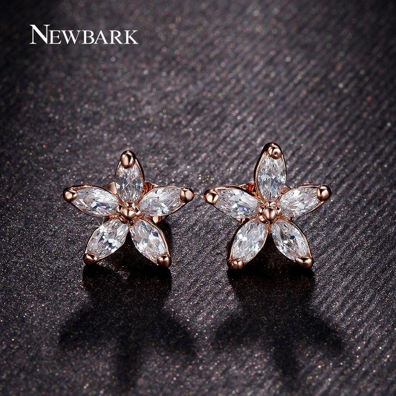 Find More Stud Earrings Information About Newbark 18k Rose Gold Plated Earrings Flower Earrings Studs Stud Earrings Fashion Jewelry Earrings