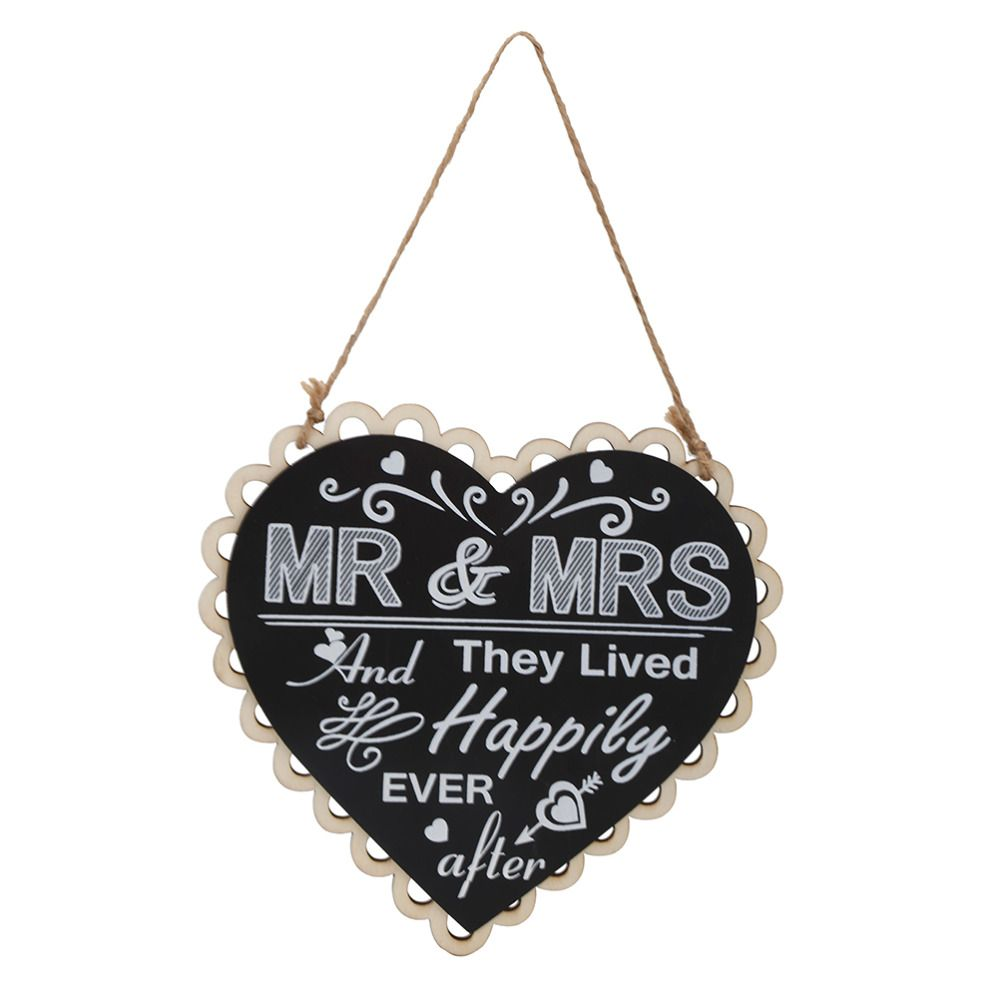 Wedding stage decoration materials  DIY Black Mr Mrs Sign Wooden Board Heart Shape Photo Booth Props For