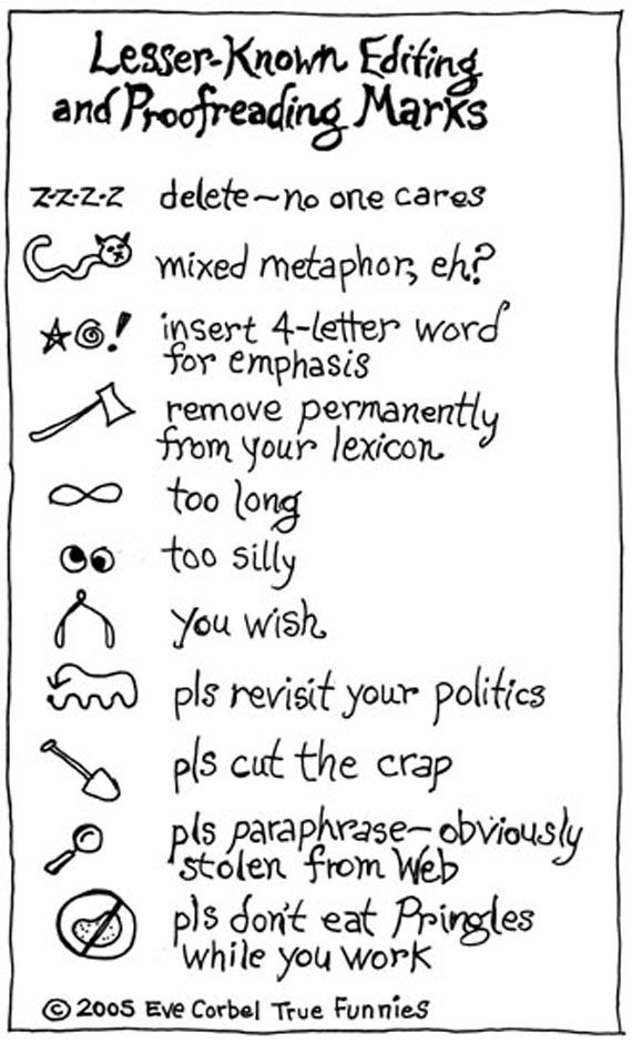 A Funny Image Of Lesser Known Proofreading Marks Language