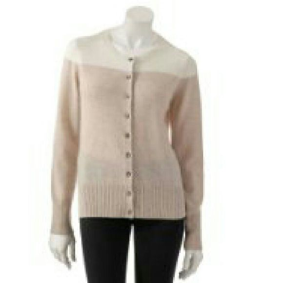 100% Cashmere Cardigan in Beige Colorblock Only worn once. Such a ...