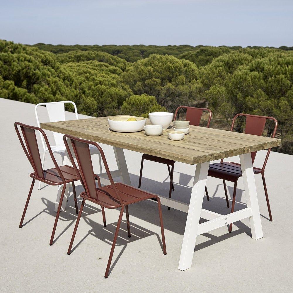 Table de jardin 6/8 personnes en acacia et métal blanc L180 in 2019 ...