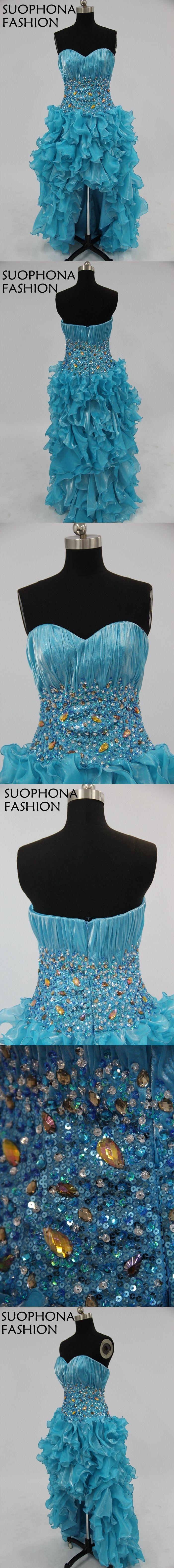 Elegant custom made organza front short back long prom dresses