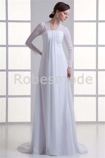 Robe de mariée colonne col en v traîne balayée dos rempli manches longues en satin /mousseline de soie