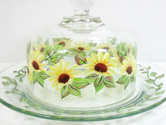 Cheese Dome Hand Painted Yellow Daisies Cheese Cracker Plate