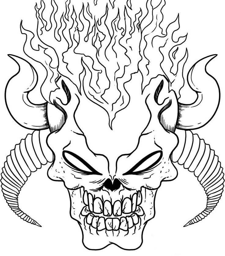 flaming skull coloring pages | Caveira assustadora | Desenho caveira, Como desenhar ...
