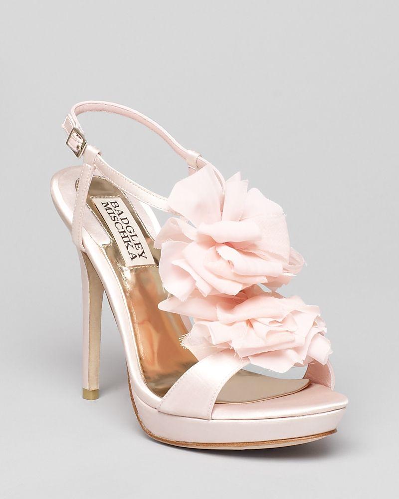 Fuschia Low Heel Wedding Shoes: Badgley Mischka Platform Evening Sandals