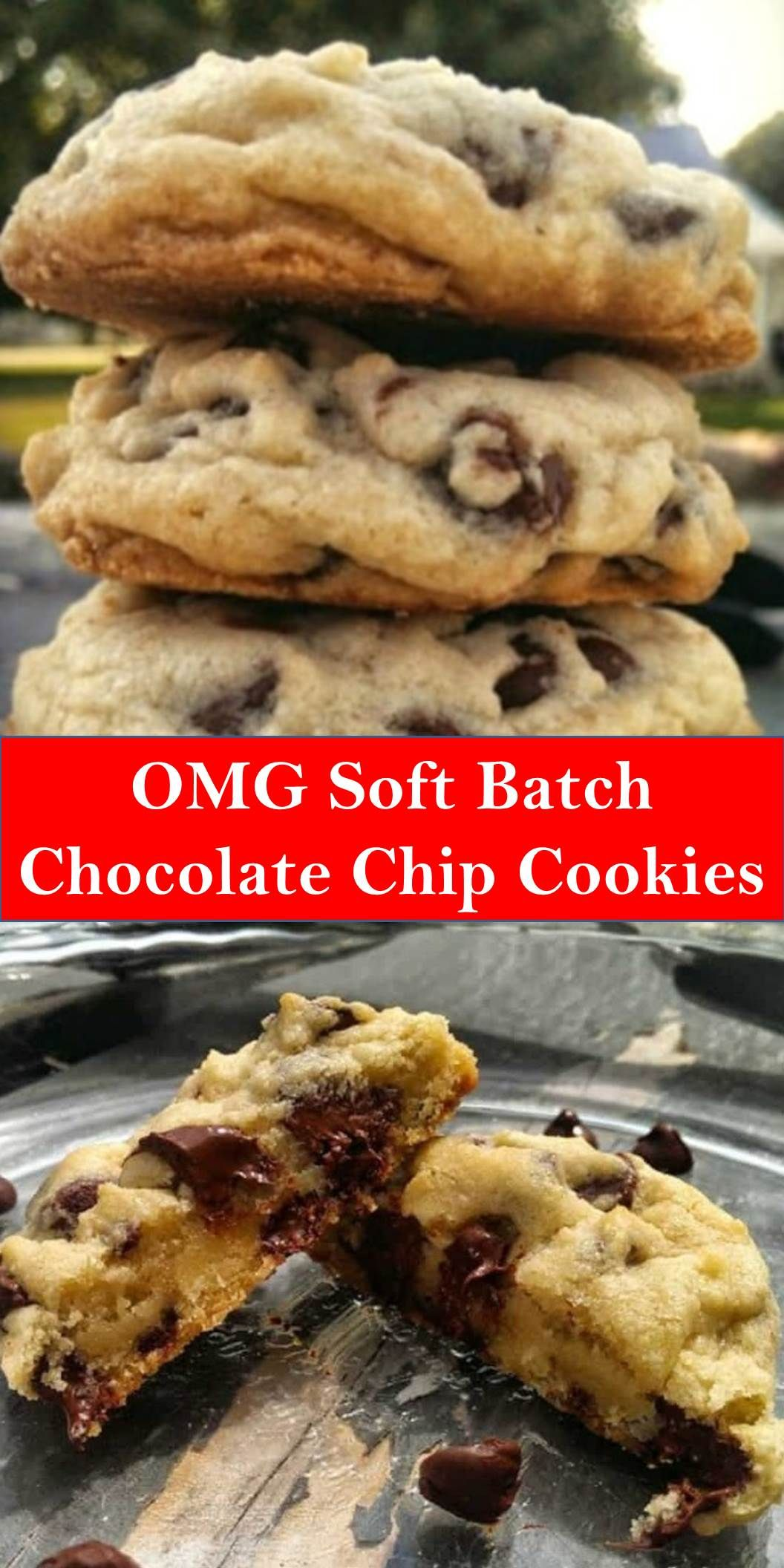#Dessert #OMG #Soft #Batch #Chocolate #Chip #Cookies Your family's favorite food and drink ! OMG Soft Batch Chocolate Chip Cookies Delectable, insane, buttery, rich, thick, soft-batch chocolate chip cookies are pure