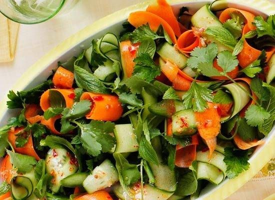 Cucumber and herb salad with chilli dressing recipe