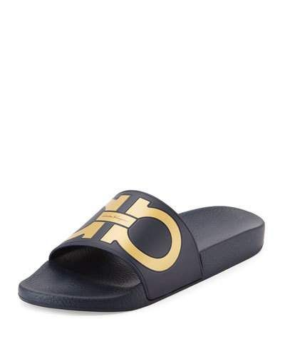 e30e681d1650 SALVATORE FERRAGAMO Men S Groove Logo Pool Slide.  salvatoreferragamo  shoes    Purple Beach