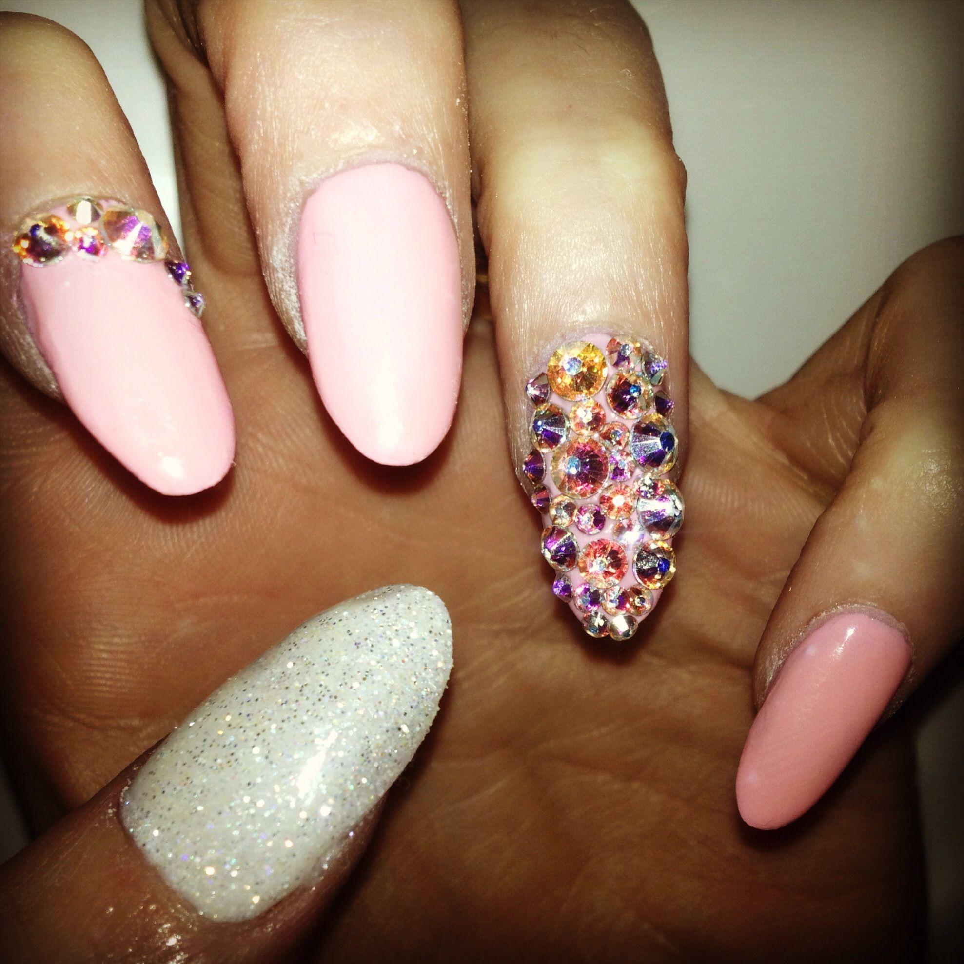 Pink glitter diamante nail art | Nails | Pinterest | Pink glitter ...