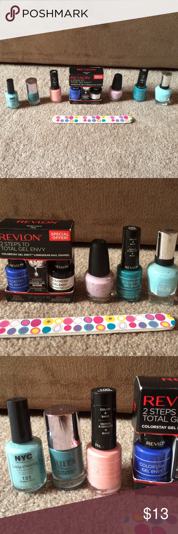 Nail Polish Bundle!  Really cute pastels and colors perfect for spring and summer! Revlon ones weren't used. Think if any were used it was solely one time. Lemme know if you want to mix and match or leave out some items. 8 items plus nail file- all over worth about $30. Revlon Makeup