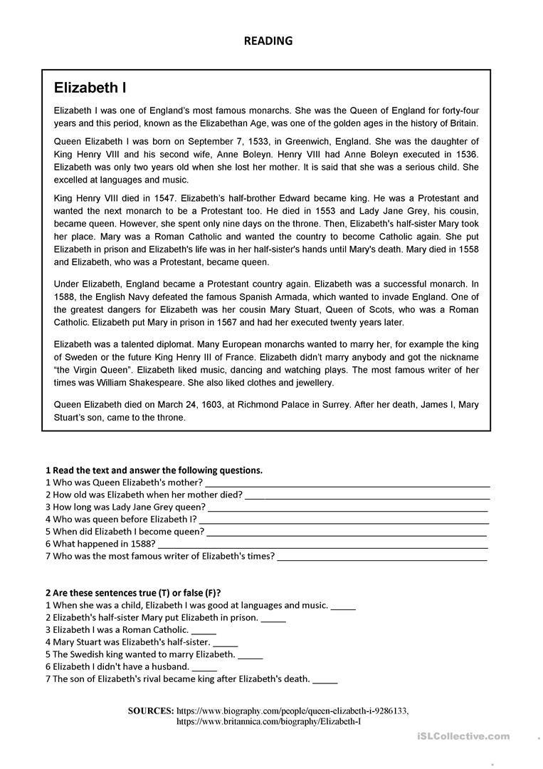 Elizabeth I Reading Worksheet Free Esl Printable Worksheets Made By Teac Reading Worksheets Reading Comprehension Worksheets Reading Comprehension Passages [ 1079 x 763 Pixel ]