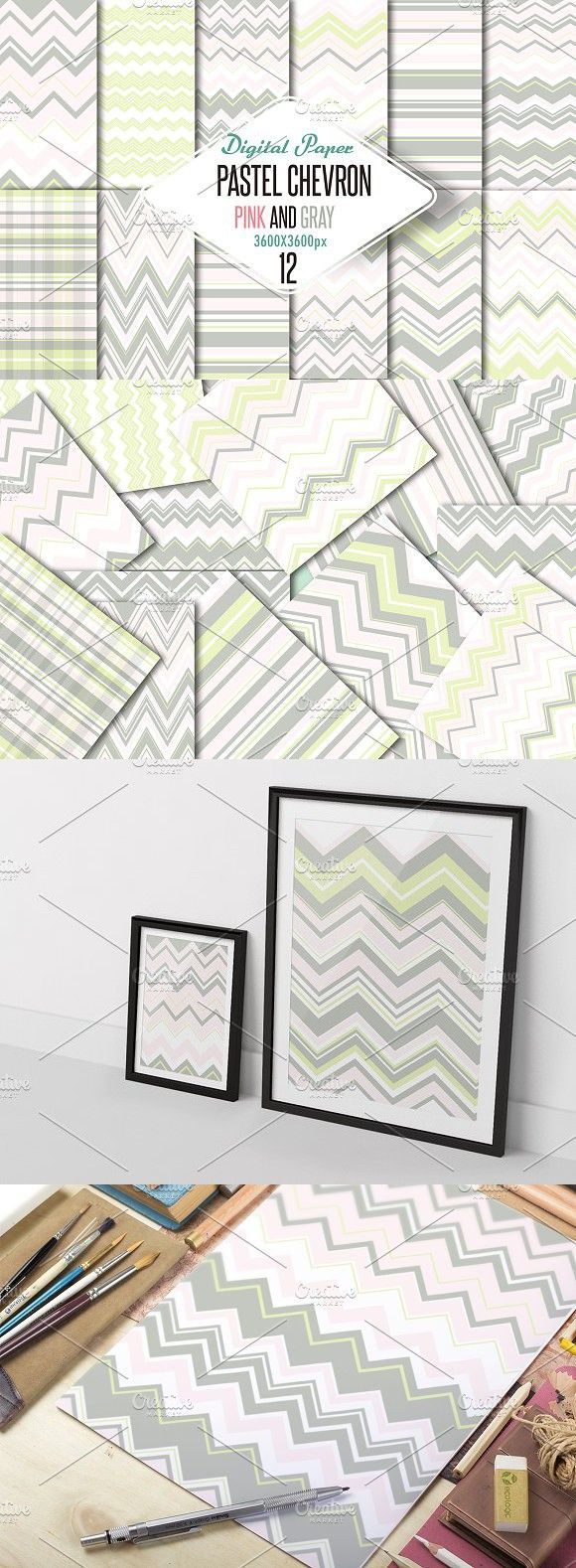 Pastel chevron pink-gray paper. Patterns