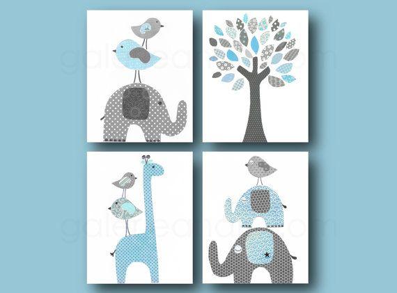 Blue and gray Nursery wall art kids room baby nursery children art tree giraffe bird  elephant set of four 8x10 in. prints GalerieAnais on Etsy, $56.00