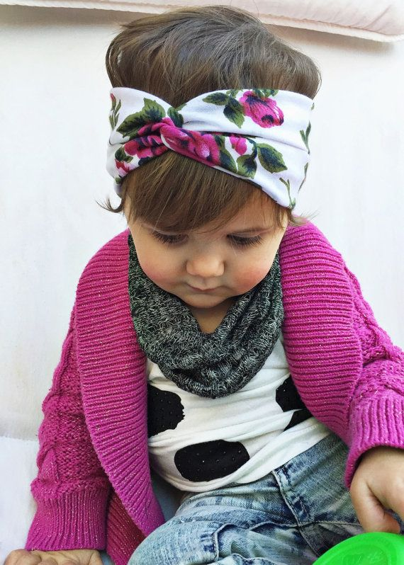 Blooms Outline - baby sailors knot headband - infant turban ... 83e864778a2