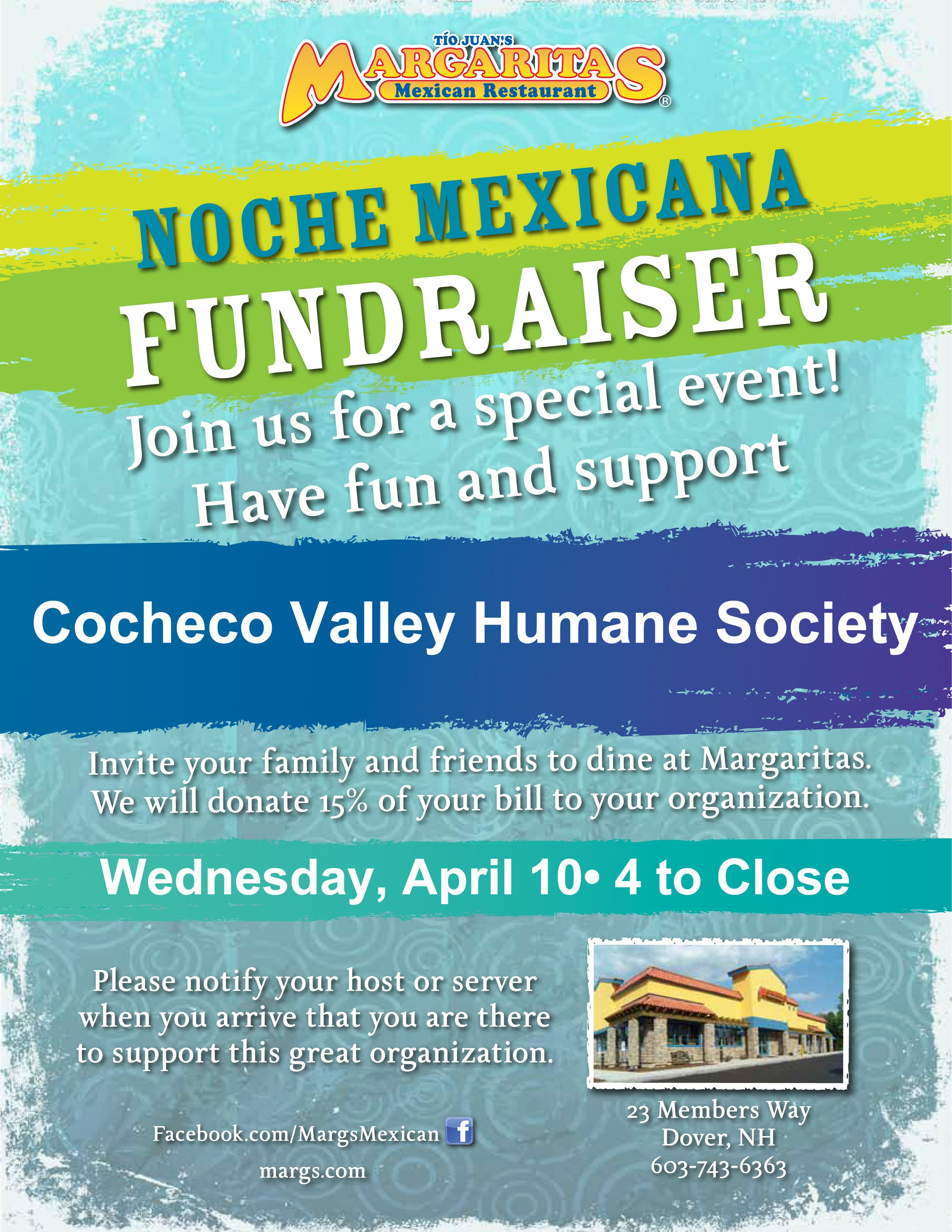 Join us on April 10th at Margaritas in Dover, NH for Noche