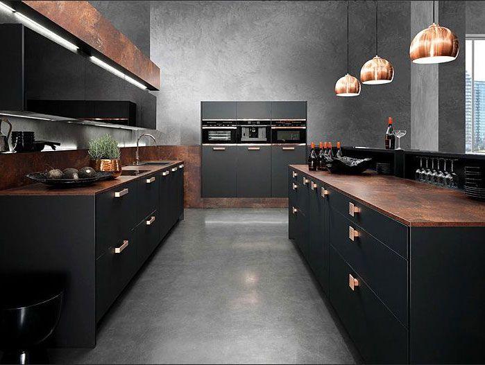 Für Stilvolles Zuhause Küche schwarz Kupfer Design | Kitchens ...