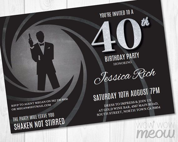 40th Birthday Invite Party Invitation INSTANT DOWNLOAD Secret Agent Silver Black Tie Surprise Editable Bond Elegant Personalize Printable More