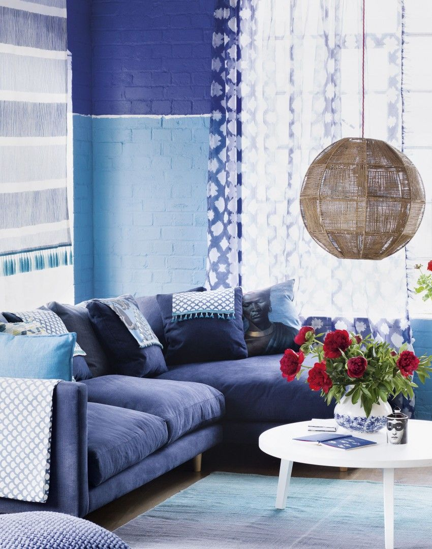 Blue And White Living Room With Corner Sofa  Living  Cools Adorable Blue Color Living Room Designs Decorating Design
