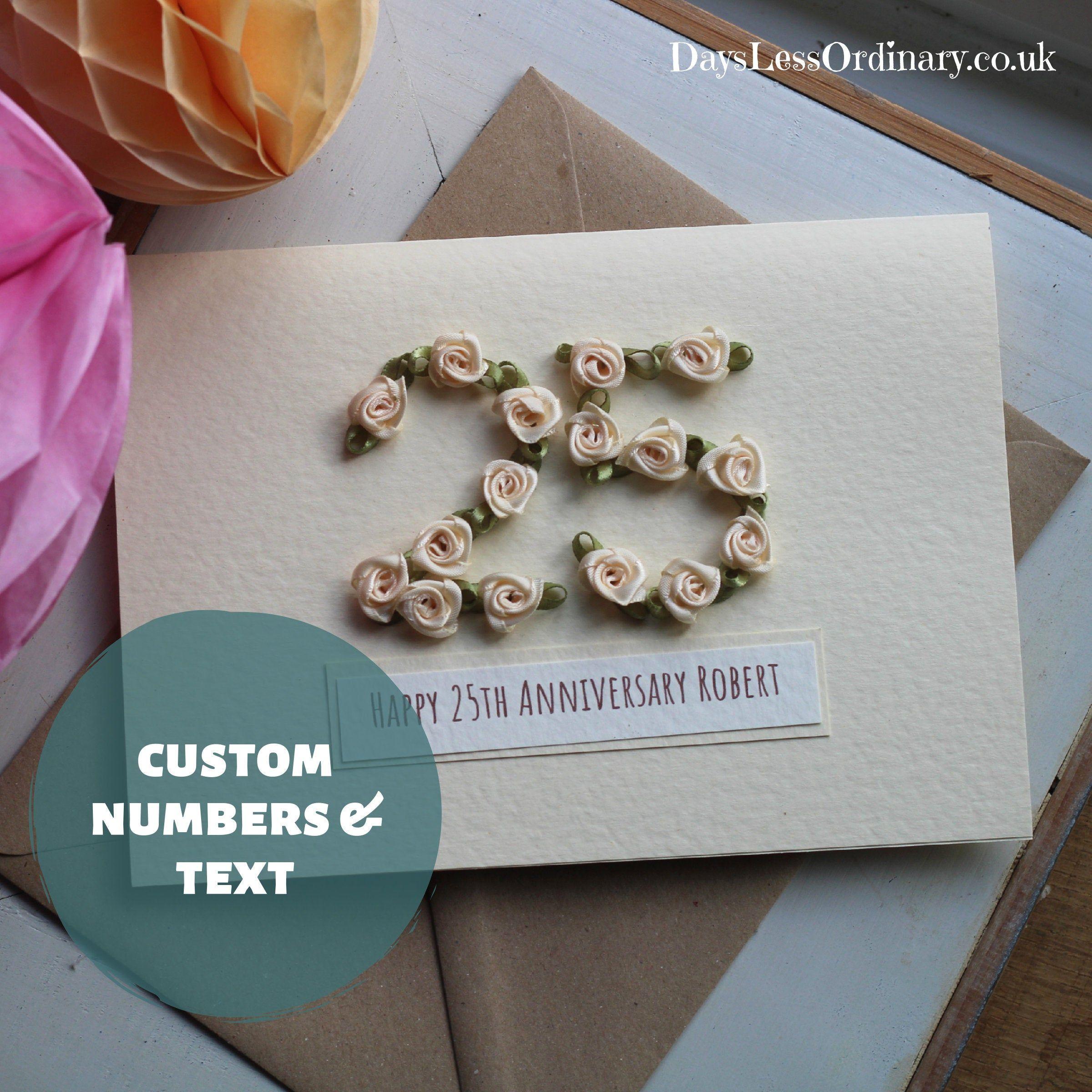 25th Wedding Anniversary Handmade Card Wife, Custom