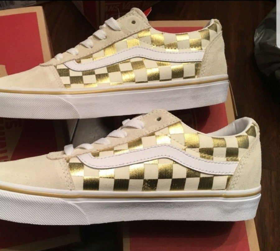 Get - gold and white checkered vans