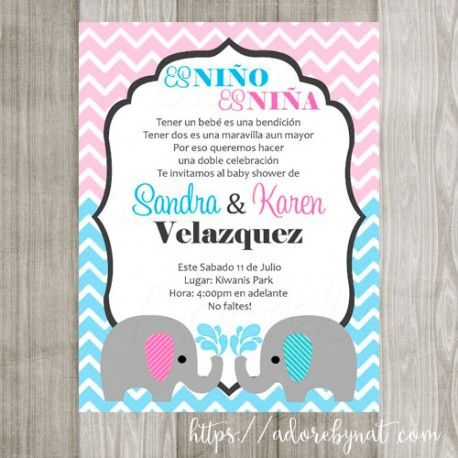 baby elephant invitations for boy and girl twins in english and, Baby shower invitations