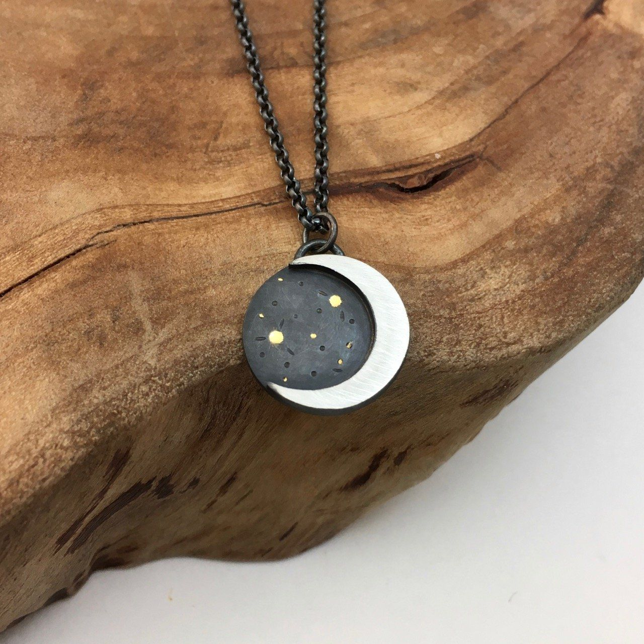 Silver Crescent Moon & Stars Pendant