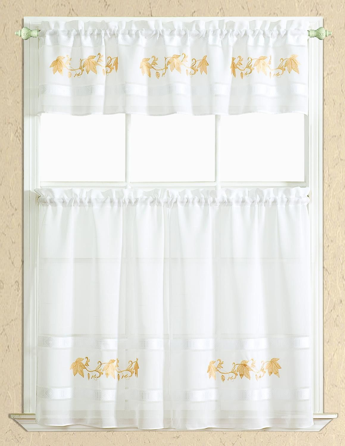 Spring Leaf Kitchen Curtain Set Valance 60 X 14 Two Tiers 30