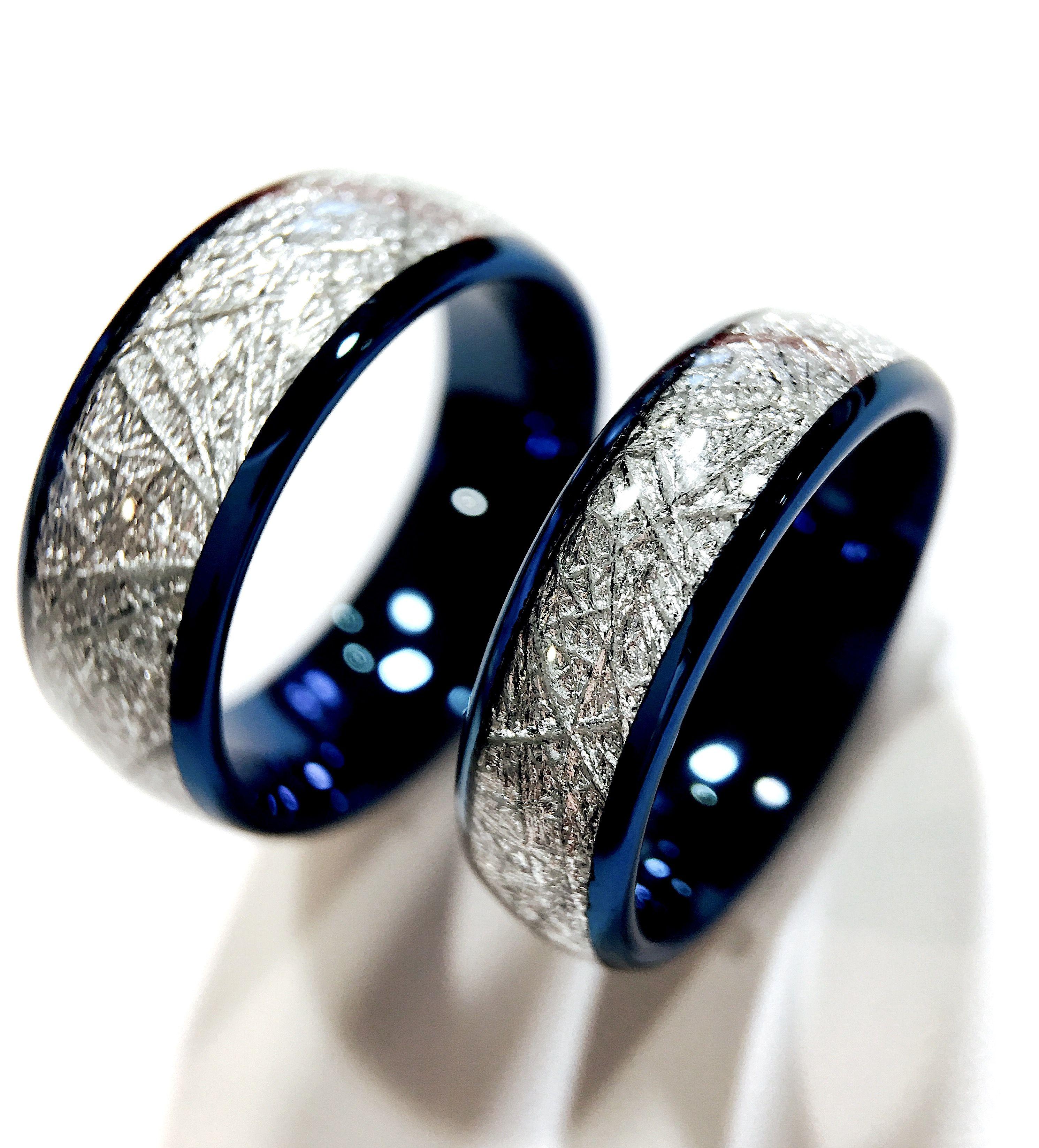 Blue Meteorite Inlay Tungsten Wedding Bands, Matching