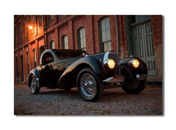 Vintage BUGATTI 1938 Atalante wall decor print set, vintage car, classic car, vintage car print, old