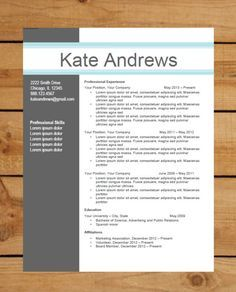 Modern Resume Template Word Free Download .