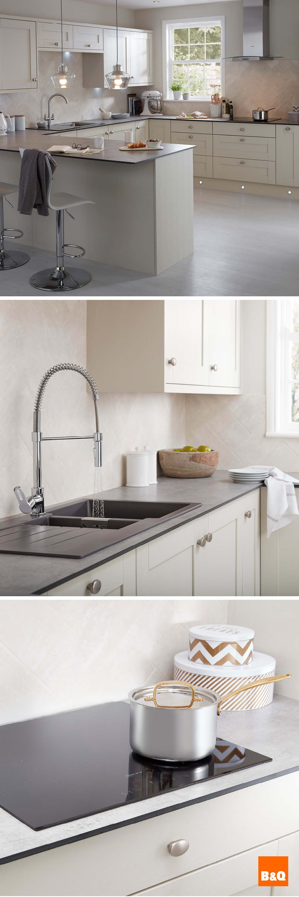 Super slim soft grey slate kitchen worktops teamed with classic ...