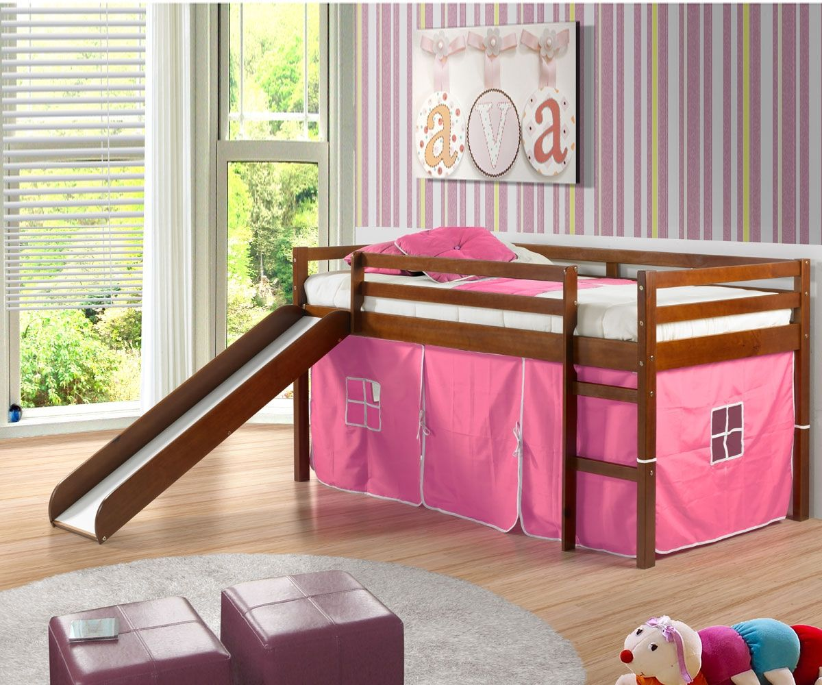 low loft bed with pink tent slide espresso future munchkins low loft beds bed with slide. Black Bedroom Furniture Sets. Home Design Ideas