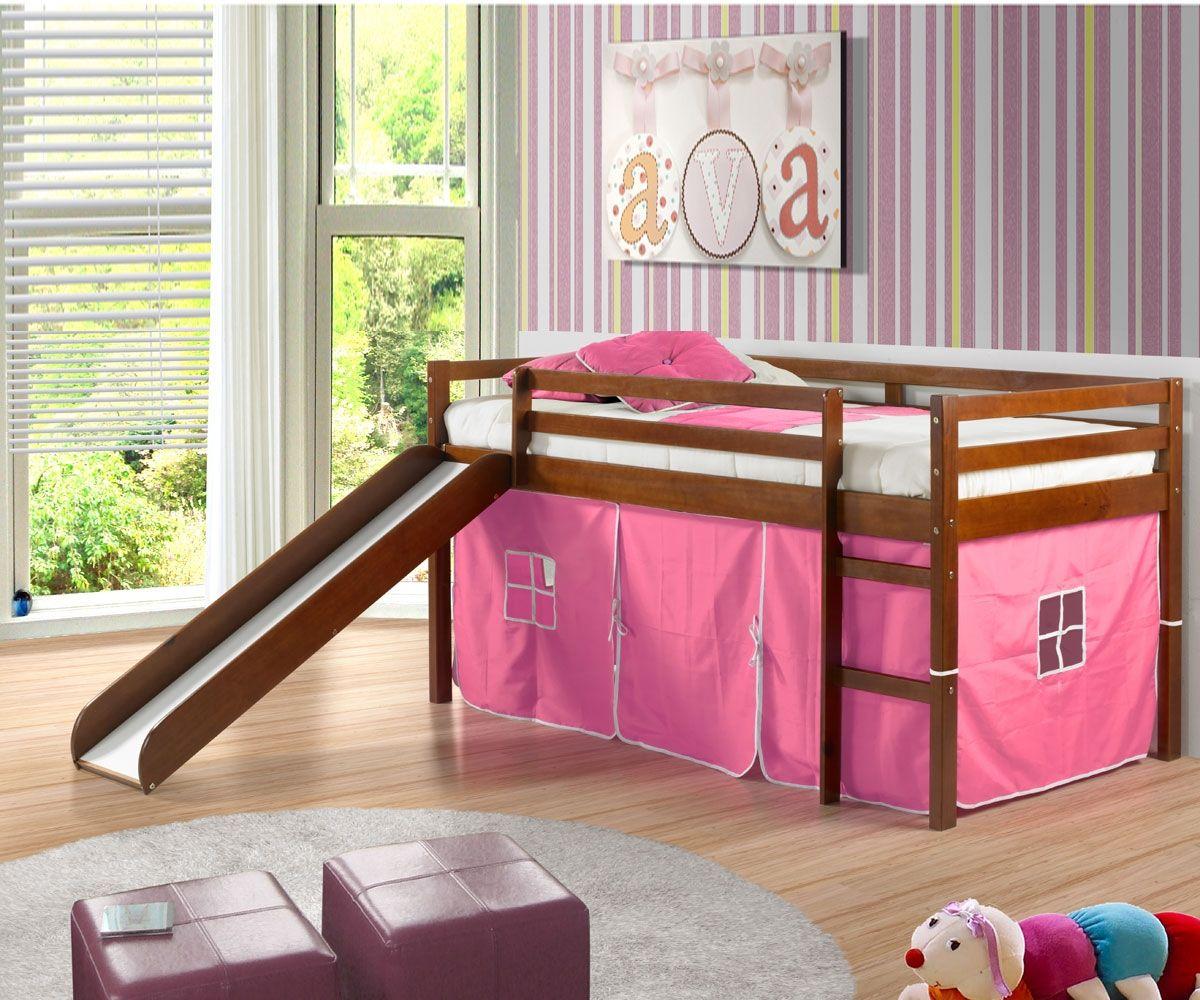 Kids low loft bed  Low Loft Bed with Pink Tent u Slide Espresso  Pinterest  Loft beds