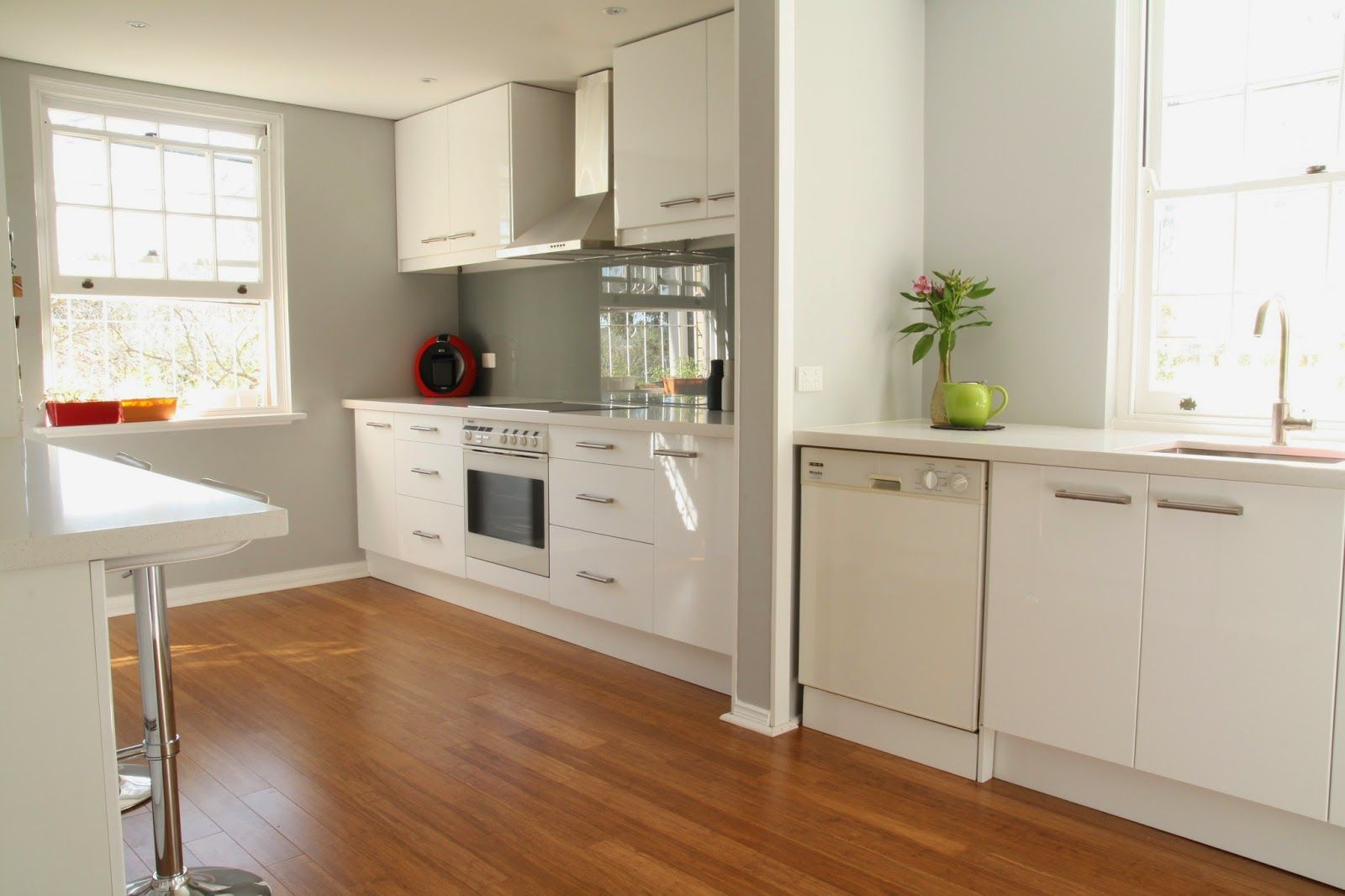 Bamboo Floor Kitchen Modern White Kitchen With Bamboo Flooring And Grey Walls My