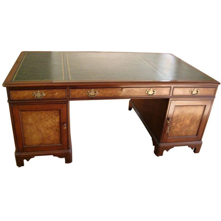 Kittinger Georgian Style Mahogany And Olive Burl Wood Partner S Desk Desk Partners Desk Desk Furniture
