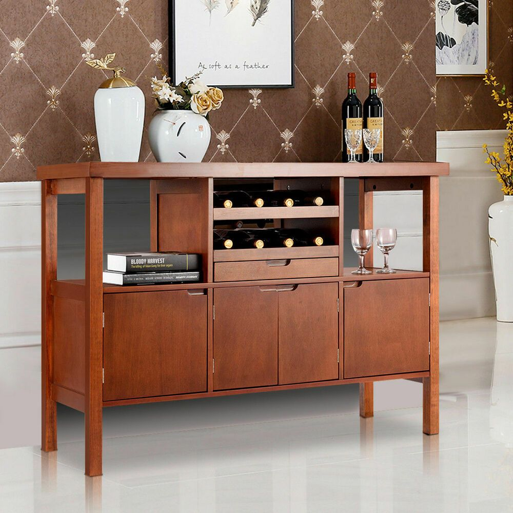 Brown wooden buffet server table storage sideboard