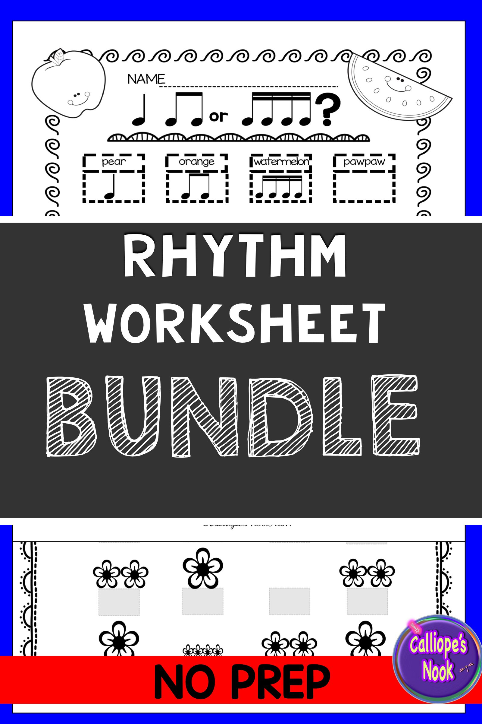 No Prep Rhythm Worksheets Bundle Quarter Amp Rest Eighth