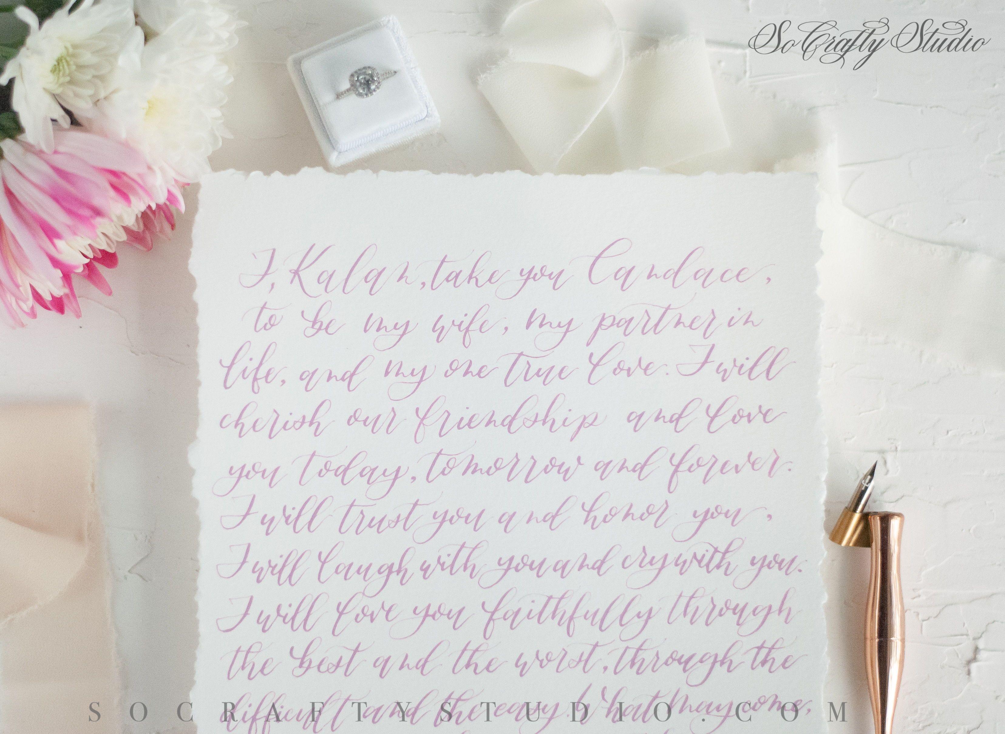 Handmade calligraphy wedding vows with modern script