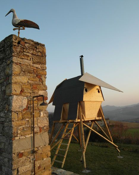 Milan studio AtelierFORTE built a sauna in the northern Italian countryside that has wings like a bird.