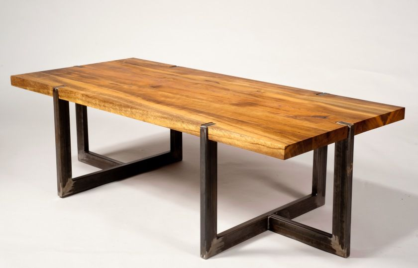 Rustic Brown Varnishes Rectangular Solid Wood Table With Black