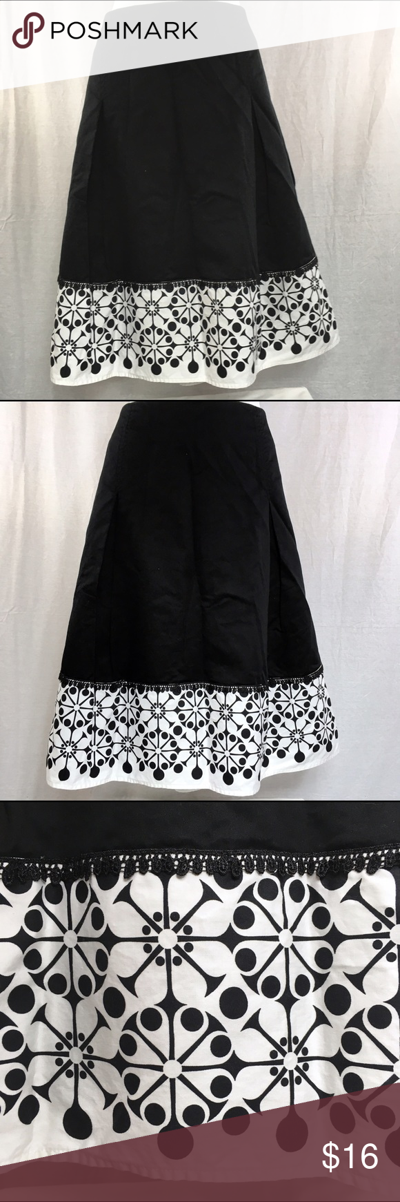 Christopher & Banks Black White Skirt - Size 12 This skirt is in great condition.  It has been gently loved.  Laying flat, the waist measures 17 inches across.  From the top of the waistband toward the knee, it measures 25 inches. Christopher & Banks Skirts A-Line or Full