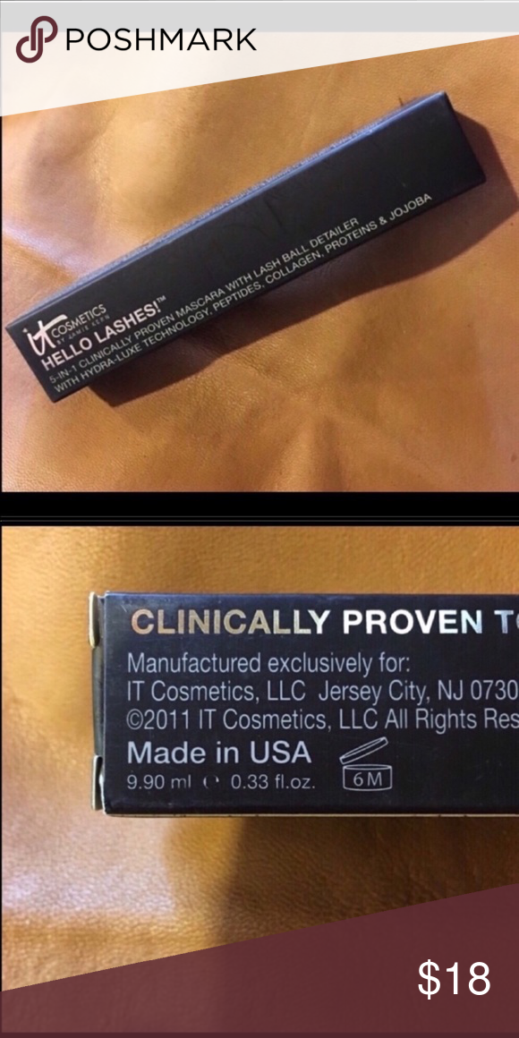 07b719d706f NEW IT Cosmetics Hello Lashes Mascara NEW, Never Used, IT Cosmetics Hello  Lashes 5-in-1 Volumizing Mascara in Black FULL SIZE - 0.33 oz size it  cosmetics ...
