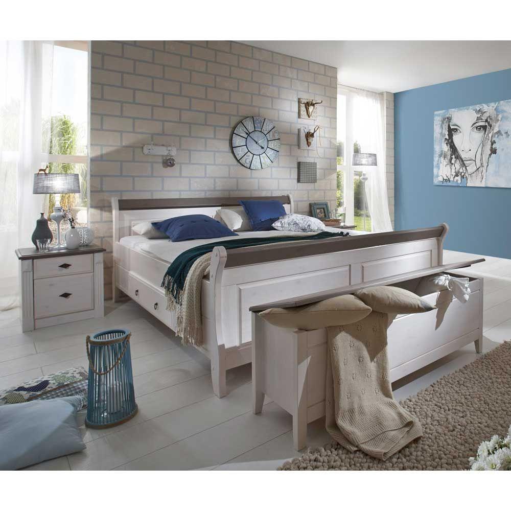 Schlafzimmermöbel Set in Weiß Grau Landhausstil (4teilig