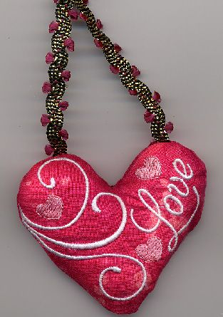 """Love Heart Pillow - Oma's Place $4.50 a little over 3"""" in size."""