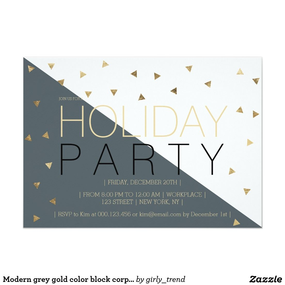 modern grey gold color block corporate christmas invitation
