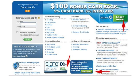 Chase Com Homepage They Really Want You To Learn More P Information Overload Unclear Call To Act Landing Page Landing Pages That Convert Business Freedom